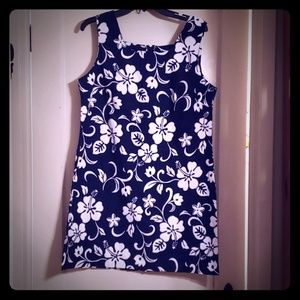 Vintage Hawaiian Short Dress Navy Grey White Sz 14